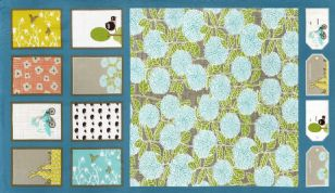 Moda Bluebird Park  - 2872 -  Cushion and Bunting Panel on Teal Background 13100-13 Cotton Fabric